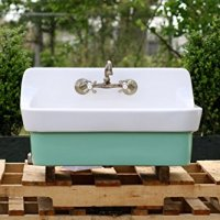 Arsenic Green Vintage Style High Back Farm Sink Original Porcelain Finish Apron Kitchen Utility Sink New Faucet + Drain