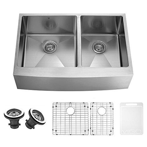 VIGO 36 Inch Farmhouse Apron 60/40 Double Bowl 16 Gauge Stainless Steel  Kitchen Sink