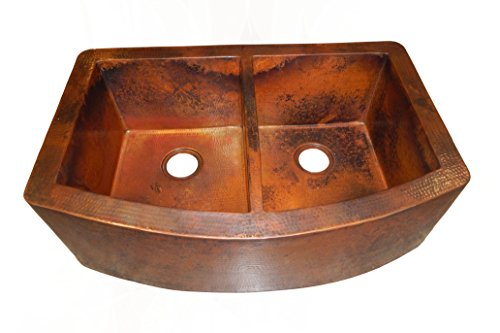 Rounded Apron Front Farmhouse Kitchen Double Bowl Mexican Copper Sink 5050 Farmhouse Sink Store