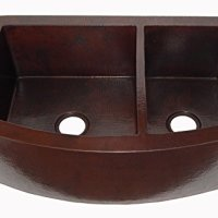 """Rounded Apron Front Farmhouse Kitchen Double Bowl 60/40 Mexican Copper Sink Dark Patina 33""""x 22""""x 9"""""""