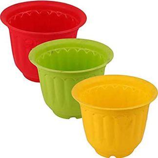 Go Hooked Multicolor Plastic Jasmine Garden Planters for Plants, Flower Pots for Home Garden, Plant Container Set (Set of 3, Multicolor) (20.5x15 cm)