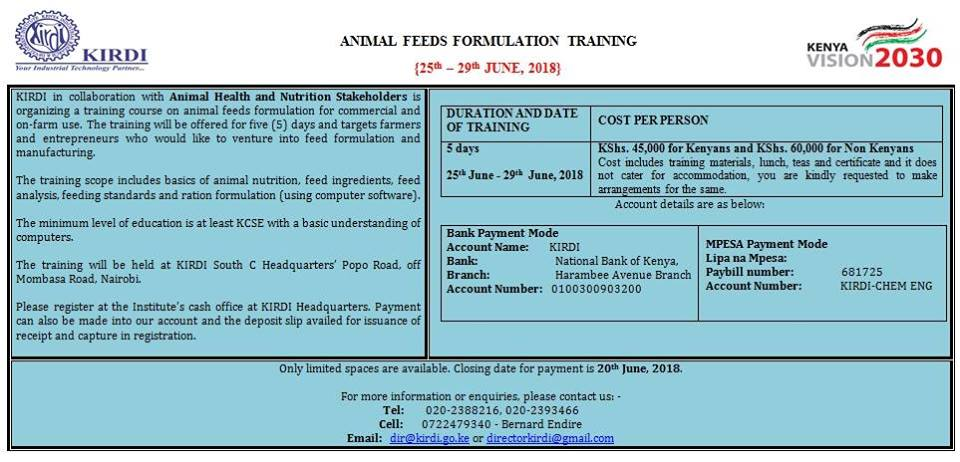Animal Feeds Formulation Training 25-29th June – FarmLINK Kenya