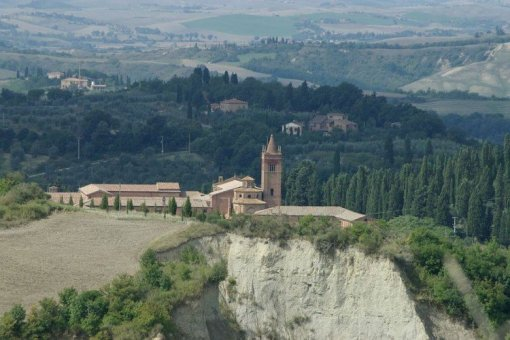 Aerial view; Monte Olive Maggiore Monastery, Tuscany Italy