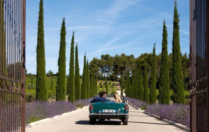 Entrance to La Coquillade, a vineyard hotel near the lavender fields of Luberon Provence