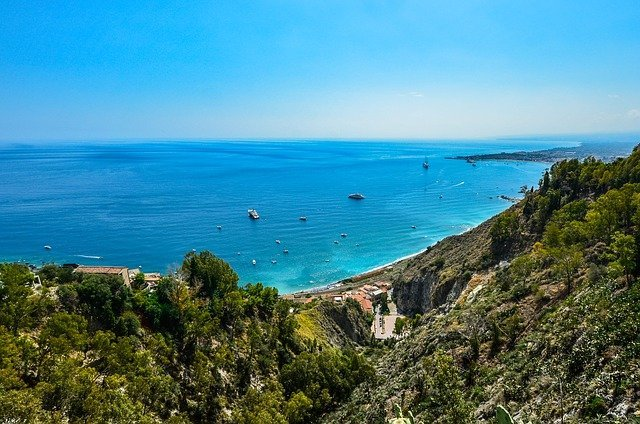 Beautiful view of the coast of Sicily