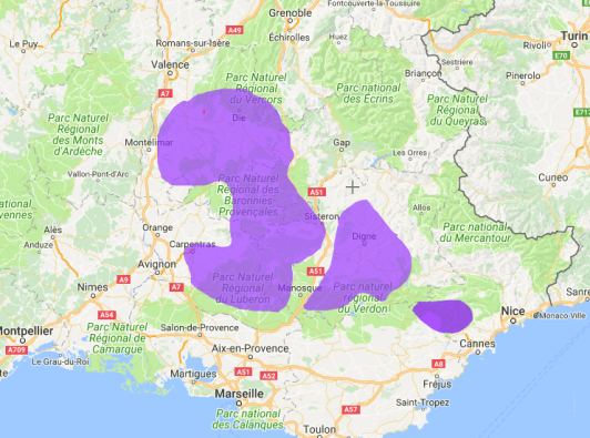 A map of the lavender fields of Provence, France