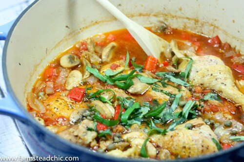 This Paleo & Whole30 Chicken Cacciatore recipe is a quick, simple, one-pot wonder but tastes divine with chicken that literally falls off the bone and veggies melded together in savory perfection.