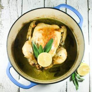 This Paleo & Whole30 Roasted Chicken in Coconut Milk is so delicious and super easy to make, requiring only six ingredients: olive oil, coconut milk, garlic, lemons, sage, and cinnamon (+S&P)!