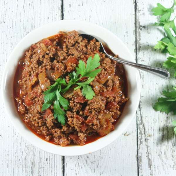 This Instant Pot Paleo and Whole30 Chili only requires 8 ingredients (+S&P). It's the perfect raid-your-pantry healthy, tasty, weeknight meal.