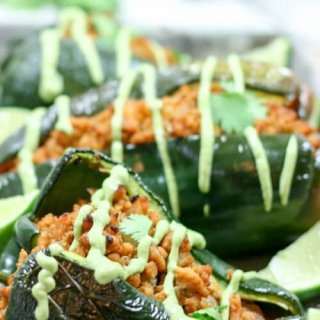 Chipotle Lime Chicken Stuffed Poblano Peppers