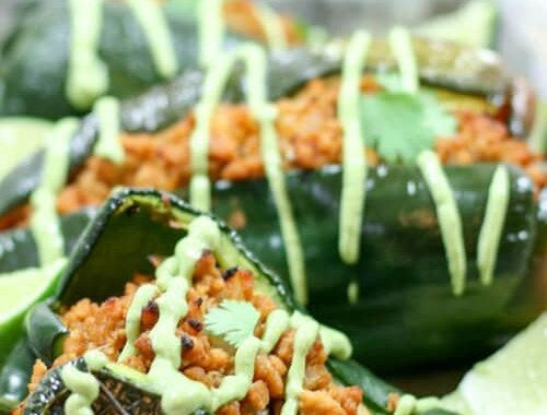 These Chipotle Lime Chicken Stuffed Poblano Peppers are a Mexican fiesta in your mouth. The spicy ground chipotle, slightly sweet + tangy lime juice and smoky poblanos create a mouthwatering combo. Did I mention they are Paleo and Whole30-compliant?
