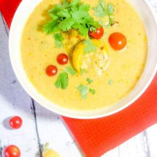 This Paleo and Whole30 Creamy Curry Summer Squash Soup is creamy, spicy and bursting with flavor yet still wholesome, healthy, dairy free and gluten free. Light and full of fresh-from-the-garden veggies, serve it alongside a small salad for a perfect summertime lunch.
