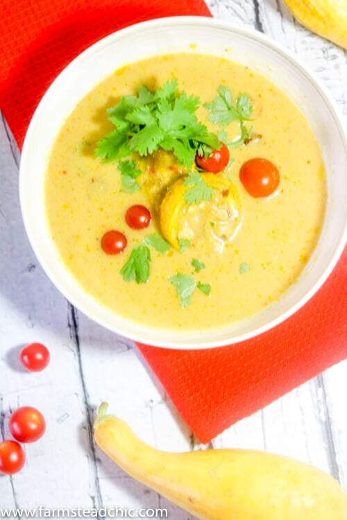 This Paleo and Whole30 Creamy Coconut Curry Summer Squash Soup is creamy, spicy and bursting with flavor yet still wholesome, healthy, dairy free and gluten free. Light and full of fresh-from-the-garden veggies, serve it alongside a small salad for a perfect summertime lunch.