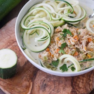 "This Paleo and Whole30 Chicken Noodle Soup is gluten-free, grain-free and dairy-free with no added sugar or questionable ingredients. Traditional noodles are replaced with spiralized zucchini, or ""zoodles,"" and the result is an incredibly tasty, truly healthy slow cooker meal with only eight ingredients!"