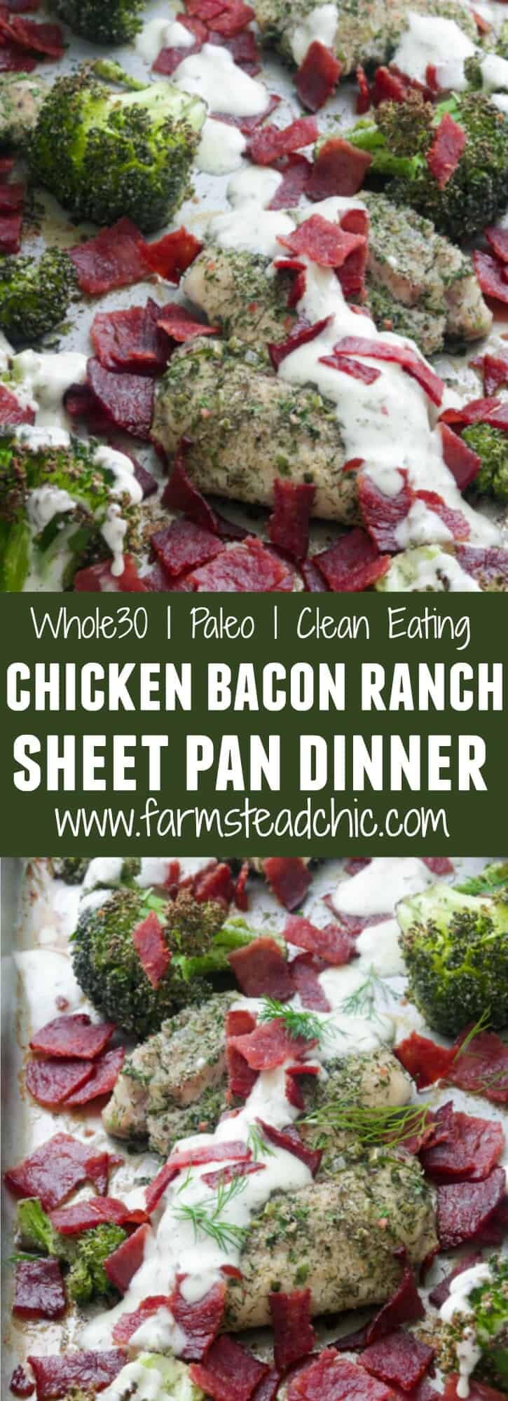 This Paleo and Whole30 Chicken Bacon Ranch Sheet Pan Dinner combines tender, juicy chicken thighs with roasted broccoli, crispy bacon and typical ranch dressing herbs and seasonings like chives, dill, parsley and onion and garlic powder into a one-dish, quick and tasty sheet pan dinner. Gluten free, grain free, dairy free, low carb.