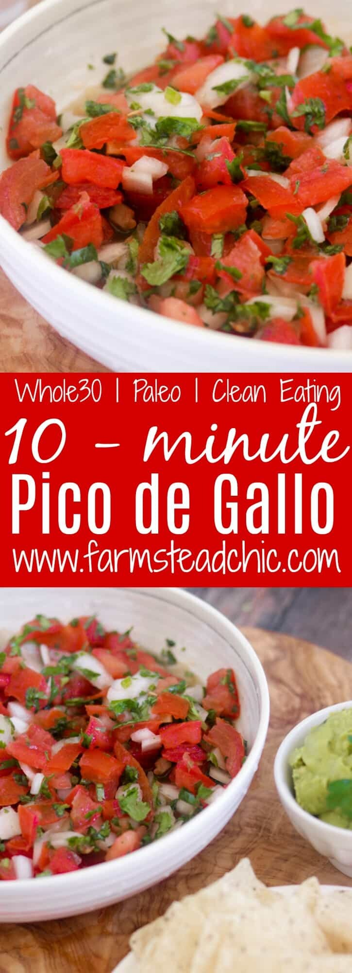 This Paleo and Whole30 Pico de Gallo is a quick and easy appetizer. Fresh tomatoes, onion, garlic, cilantro, lime juice and avocado oil and ten minutes are all you need. Vegan-, vegetarian-friendly.