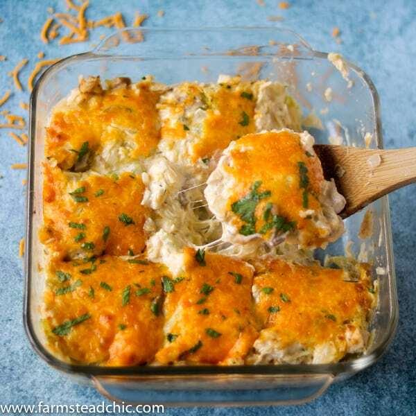 "Keto Leftover Turkey ""Noodle"" Casserole on a blue background"