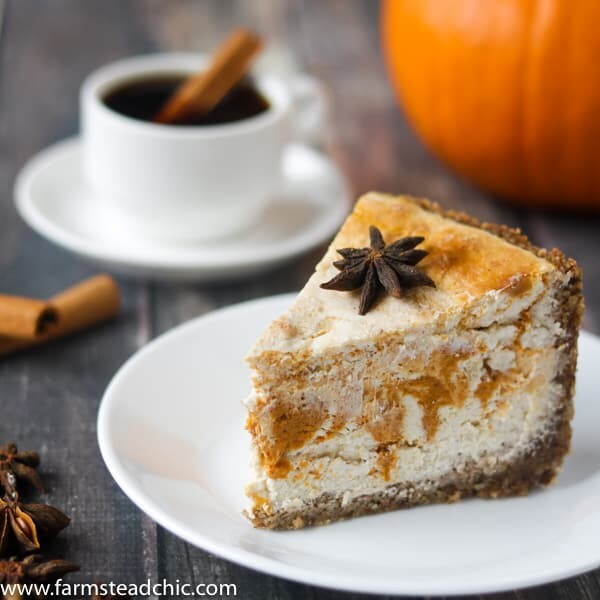 Low Carb Keto Pumpkin Cheesecake with star anise and cinnamon
