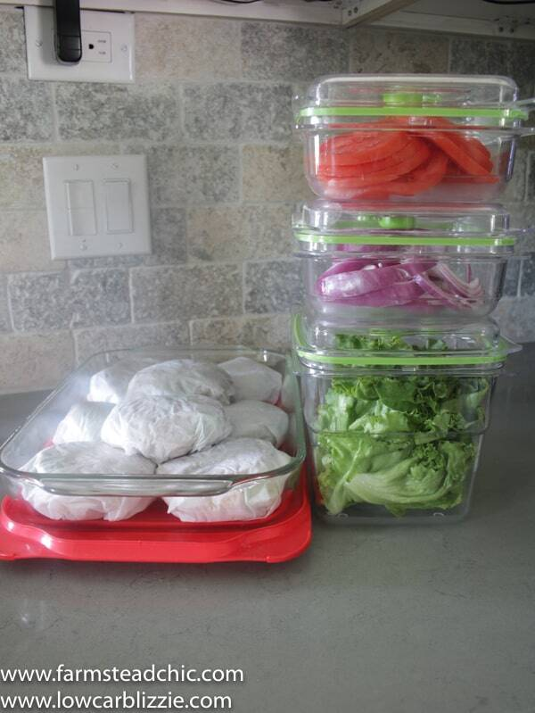 Keto breakfast sandwiches - meal prep containers