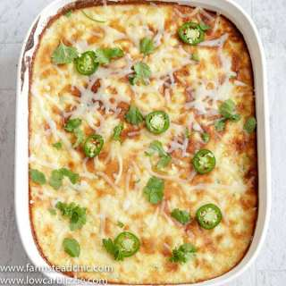 This Low Carb, Keto Jalapeño Corn Casserole is gluten free, grain free, moist, sweet and fluffy and filled with baby corn, juicy summer squash, fresh jalapeños and creamy cheese. | www.farmstmeadchic.com | #keto #lowcarb #glutenfree #grainfree #lowcarbcorncasserole #jalapenocorncasserole #farmsteadchic
