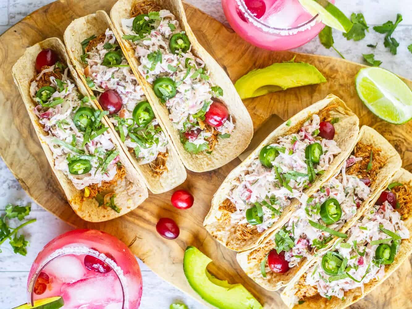 Instant Pot Cranberry Chipotle Chicken Tacos - Low Carb, Keto Tacos