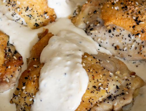 Keto Everything Bagel Chicken Thighs with Cream Cheese Gravy