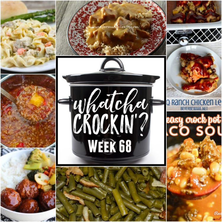 This week's Whatcha Crockin' crock pot recipes include Slow Cooker Beef Stew and Rice, Crock Pot Cheesy Chicken and Noodles, Easy Crock Pot Taco Soup, Crock Pot BBQ Ranch Chicken Legs, Crock Pot Green Beans, Instant Pot Stuffed Pepper Soup, Slow Cooker Asian Meatball Stir Fry Bowls and more!