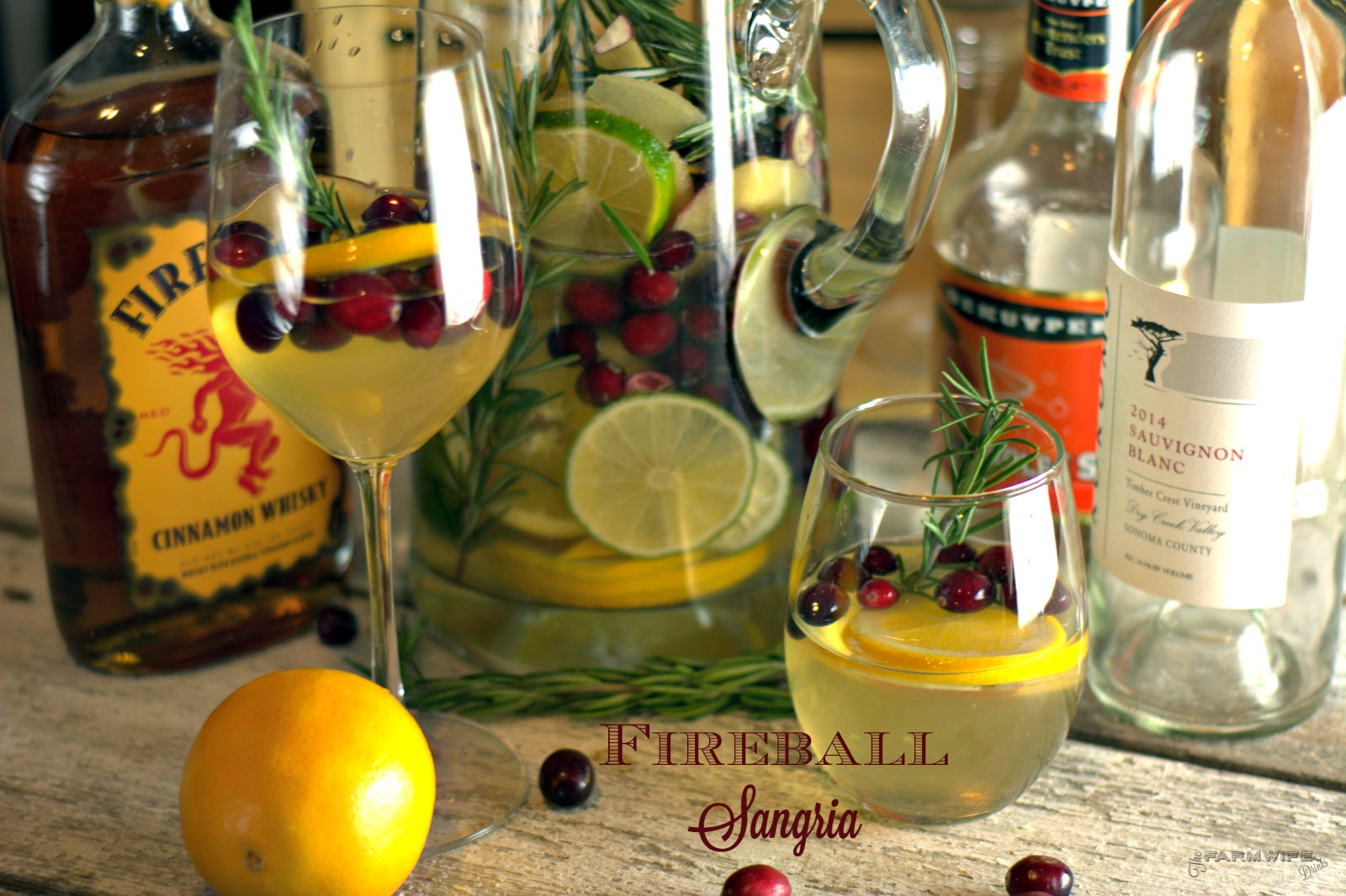 Fireball Sangria recipe is a crisp white wine sangria with a strong cinnamon flavor. Subtle hits of orange, cranberry, and apple make this the perfect Christmas Sangria.