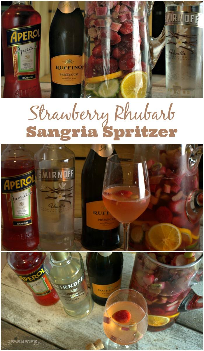 Strawberry Rhubarb Sangria Spritzer combines the summer flavors to make a flavorful sangria all year round thanks to frozen rhubarb and strawberries.