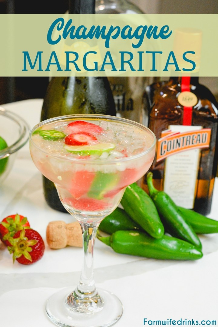 Champagne margaritas are sweet and spicy with the combination of a bottle of bubbly, sugared strawberries, Cointreau, lime juice, and jalapenos.