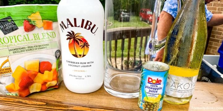 Malibu Rum Sangria Ingredients - White Wine, Pineapple Juice, Tropical Frozen Fruit, Malibu Rum