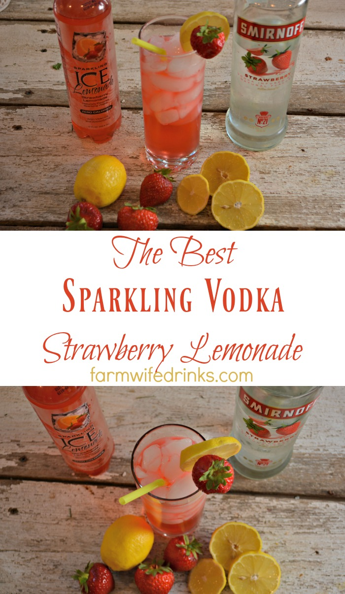 A quick two ingredient strawberry lemonade with vodka.