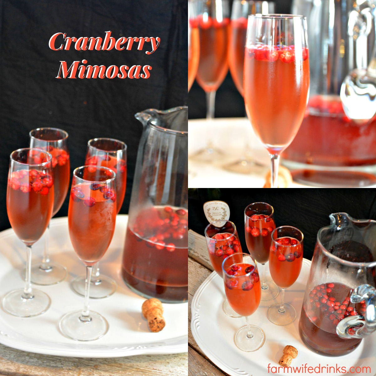 These cranberry mimosas are the perfect recipe for an alternative to traditional mimosas and can be made by the pitcher for holiday brunch cocktails.