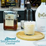 Almond snickerdoodle cocktail is the smooth almond and cinnamon after dinner drink that is made by shaking Rumchata and amaretto together and then serving over ice.