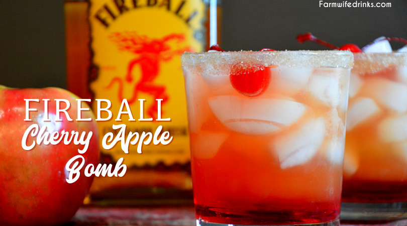 Fireball cherry apple bomb cocktail takes fall flavors up a notch with real apple cider and Fireball whisky with cherries and grenadine for the best-iced fall cocktail.