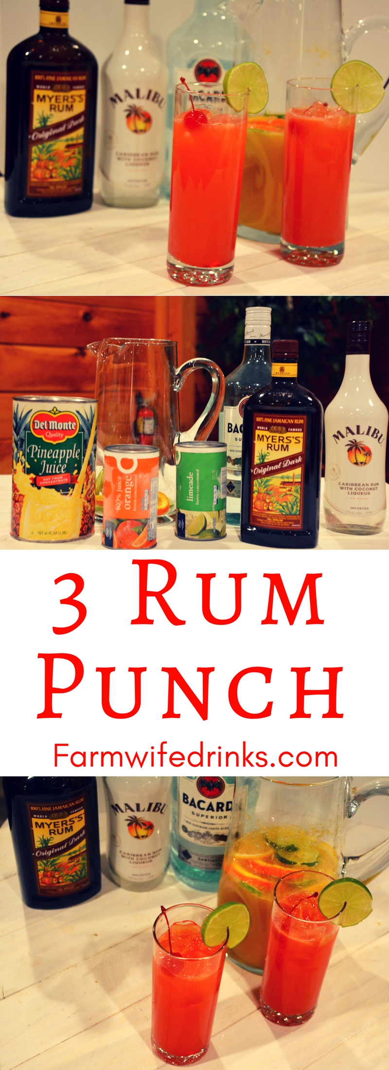 3 rum punch is the sweet combination of pineapple, lime and orange juices with dark, white, and coconut rums with just a hint of grenadine for a sweet finish. Seriously, this rum punch will be a a great drink recipe to make for a crowd. #rum #Cocktails #RumPunch #MalibuRum