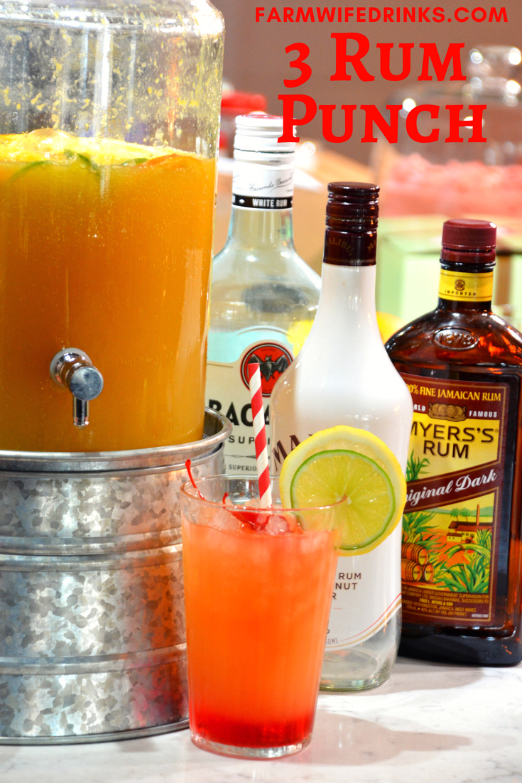 3 rum punch recipe is the sweet combination of pineapple, lime and orange juices with dark, white, and coconut rums to combine for a great party drink. #RumPunch #Rum #Partydrinks