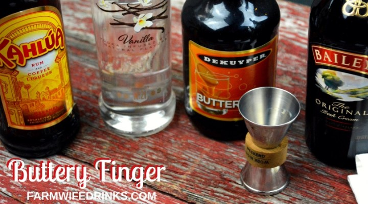 When I made the buttery finger cocktail, I was in instant heaven with the combination of butterscotch schnapps with Baileys, Kahlua, and vodka to make this stout enough for a shot but smooth enough to sip over ice.