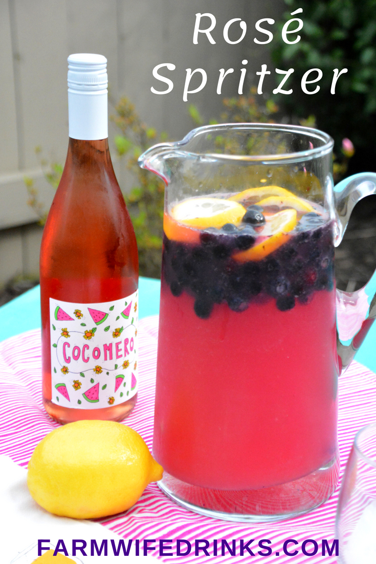 Rosé Spritzer is the sweet combination of rosé wine with tangy lemonade and ginger ale combined with blueberries and lemon slices for a refreshing summer rosé sangria.