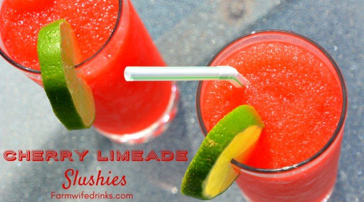 Cherry Limeade slushies are quick and easy icee like drinks made with maraschino cherries, limeade and ice.
