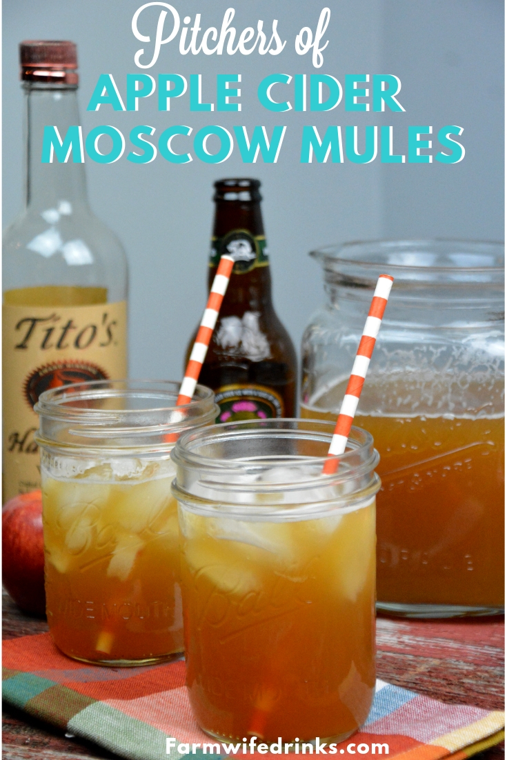 Apple Cider Moscow Mules Pitchers combine apple cider, ginger beer, and vodka to form the best cocktail to drink all fall long. #MoscowMule #Cocktails #Apple #AppleCider #Cocktail #MoscowMule