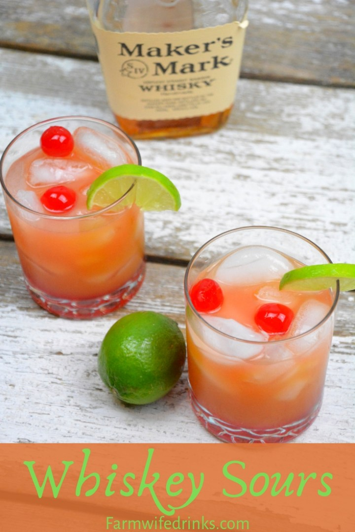 Whiskey Sours is limeade and whiskey combined and stirred in with a smidge of orange juice and grenadine. #Whiskey #Whisky #WhiskeySours #Cocktails #Cocktail