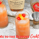 Tie me to the bedpost cocktail combines whiskey, vodka, and amaretto and then is topped off with orange juice and grenadine. #Whiskey #Amaretto #Vodka #Cocktail