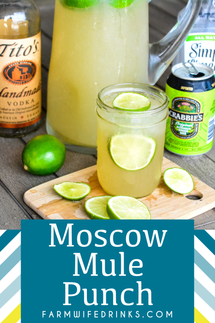 Moscow Mule Punch is the perfect large batch cocktail recipe combining limeade, ginger beer, and vodka great for tailgates, pool parties, and BBQs.