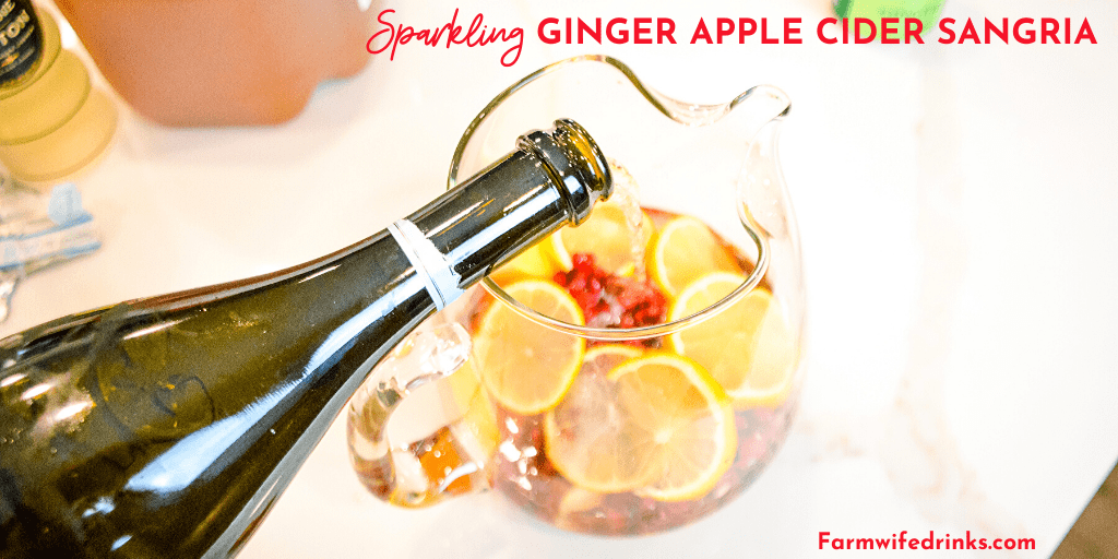 Sparkling ginger apple cider sangria is the rich flavors of apple cider, ginger liqueur, prosecco with hints of lemon and pomegranate for a satisfying fall sangria recipe.