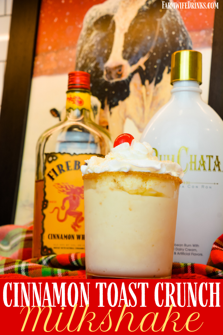 Cinnamon toast crunch milkshake is Fireball whiskey and Rumchata blended together with vanilla ice cream to create a heavy-handed frozen drink.