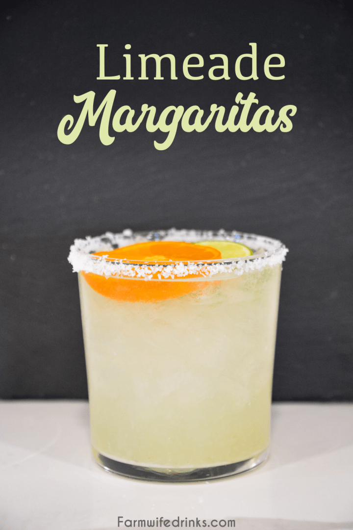 Limeade margaritas are the sweet blend of three easy ingredients to make easy margaritas by the pitcher by mixing together a can of frozen limeade, triple sec, and tequila.