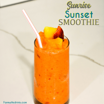 Sunrise Sunset Smoothie is a mango, pineapple, strawberry, orange juice smoothie that is the copycat version of the Tropical Smoothie sunrise sunset smoothie.