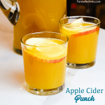 Apple cider punch is a simple fall punch recipe made with apple cider, pineapple juice, and ginger ale that is perfect to be topped off with spiced rum like Captain Morgan, amaretto or vodka.