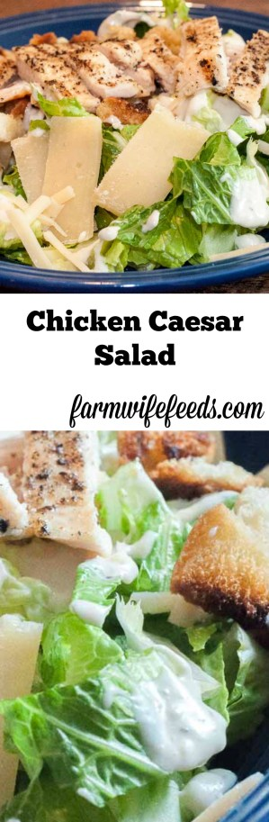 Grilled Chicken Caesar Salad with Homemade Croutons from Farmwife Feeds #chicken #salad #recipe #easy